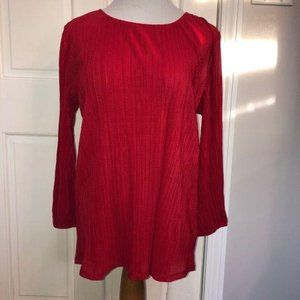 Adrianna Papell Red Pleated 3/4 Sleeve Blouse Med